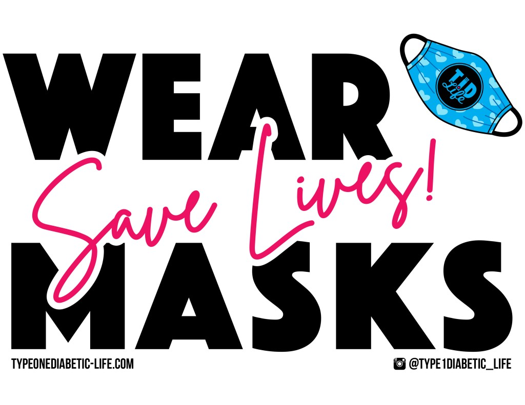 Wear Masks (Blk/Wht) - Door or window sign by @type1diabetic_life