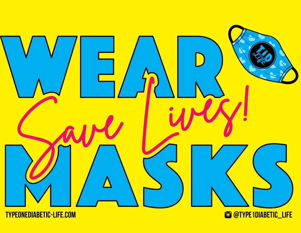 Wear Masks (Yellow/Blue) - Door or window sign by @type1diabetic_life